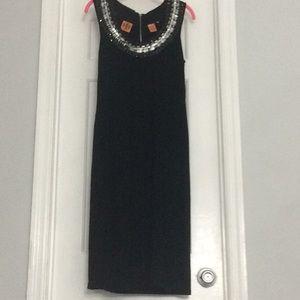Tory Burch Jeweled Black knit dress
